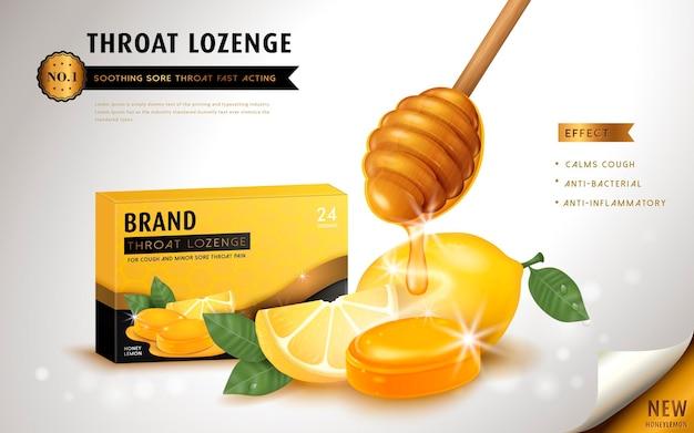 Pastilha de mel e limão para garganta