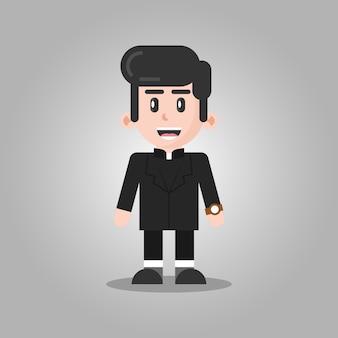 Pastor cartoon personagem ilustração