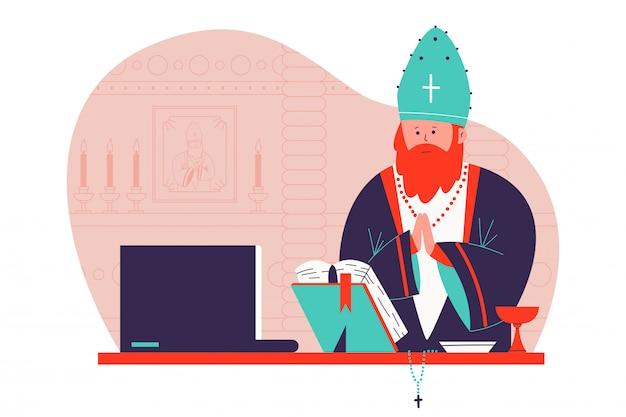Pastor que prega na ilustração em linha dos desenhos animados da igreja.