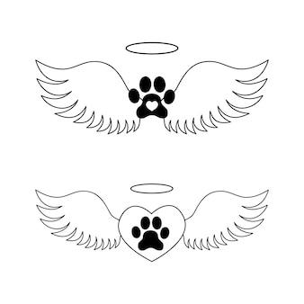 Pata de cachorro com asas de anjo em coração e halo. conceito de memorial da morte de animal de estimação