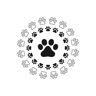 Pata de impressão de gato, cachorro, rastreamento de animal de estimação do filhote de cachorro. vetor de silhueta isolada.