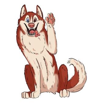Pata de ondulação do husky siberiano bonito. ilustração de um cão no estilo lineart. malamute ou cão laika. animal doméstico ou animal de estimação em estilo cartoon
