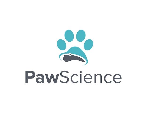 Pata e ciência simples, elegante, criativo, geométrico, moderno, design de logotipo