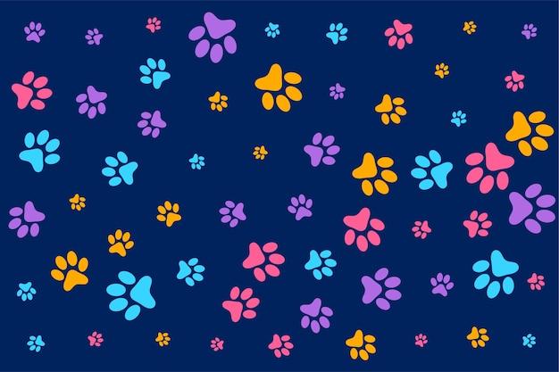 Patas coloridas de cachorro ou gato com padrão de fundo