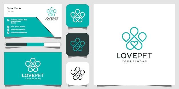 Patas com ícone de um coração. logotipo e cartão de visita