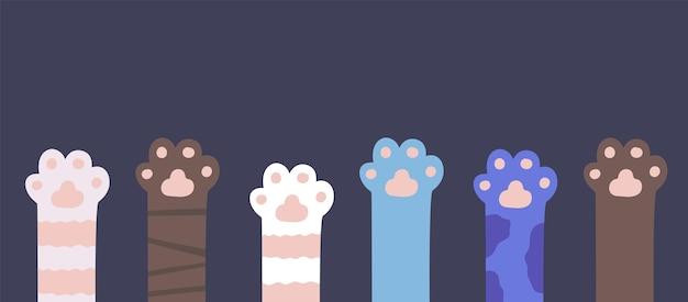 Patas de gato com pêlo de gatinho pés engraçados para animais domésticos