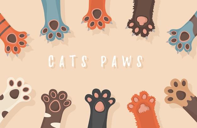Patas de gato e cachorro, fundo, estampas, desenhos animados, papel de parede de pernas de animais fofos brochura, folheto, cartão postal. patas acima animais isolados no fundo branco. ilustração em design plano.