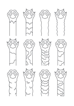 Patas de gato. sketch line pets, simples pegadas divertidas de gatinhos.