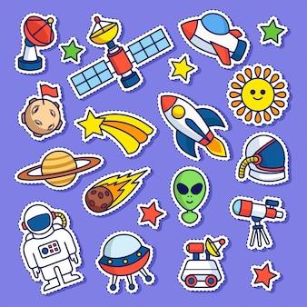 Patch de adesivo de doodle de espaço