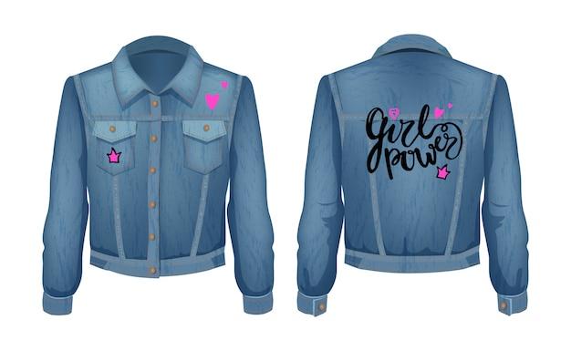 Patch de jaqueta jeans de poder feminino