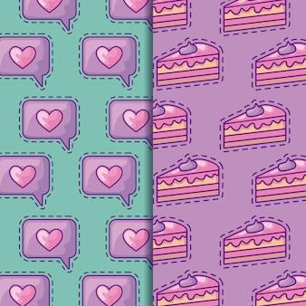 Patches de padrão sem emenda de fatias de bolos doces e bolha do discurso