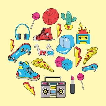 Patches dos anos 80 definem ícones ao redor