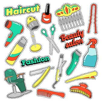 Patches, emblemas, adesivos de salão de beleza de cabelo com tesouras e pente. doodle vector