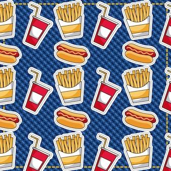 Patches fast food batatas fritas hotdog e refrigerantes