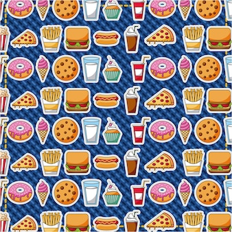 Patches fast-food doces pastelaria padrão ilustração vetorial