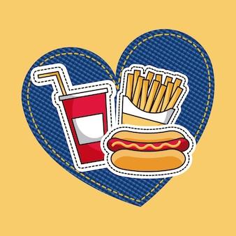 Patches hotdog batatas fritas e refrigerante fast food