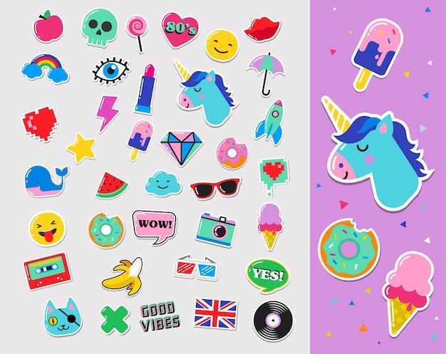 Patches, pins, emblemas, desenhos animados e adesivos chiques da moda pop art