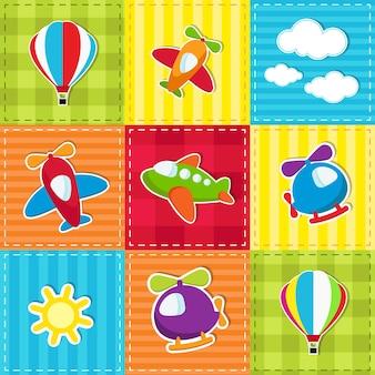 Patchwork colorido fofo com transporte aéreo de brinquedo