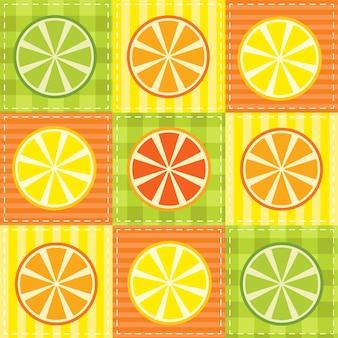 Patchwork com limão, lima, laranja e toranja