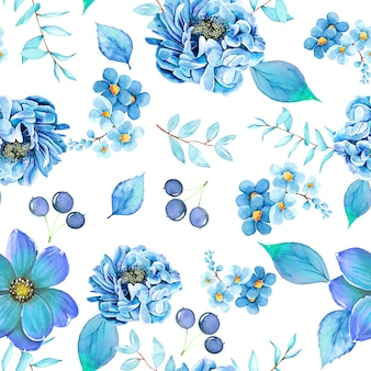 Patern floral aquarela sem emenda