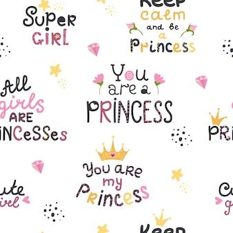Patern sem costura com letras com frases de princesa