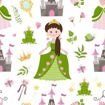 Patern sem costura com linda princesa, castelo
