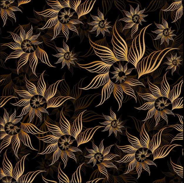 Patern sem costura floral dourado