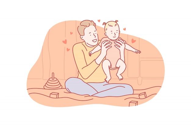 Paternidade, brincando, amor, conceito de dia dos pais