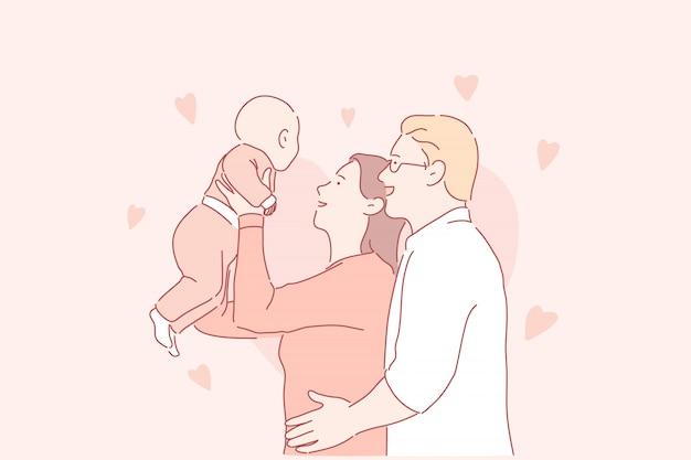 Paternidade feliz, jovem família, conceito de acolhimento de crianças