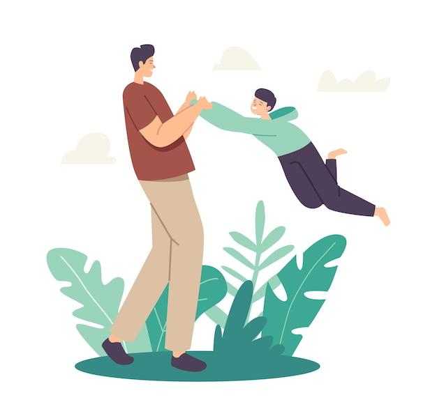 Paternidade ou conceito de infância. feliz pai personagem girando e girando filho ao redor no ar, pai brincando com a criança. diversão ao ar livre em família, lazer de fim de semana. ilustração em vetor desenho animado