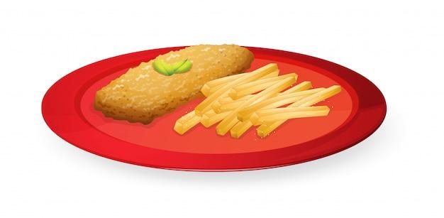 Patice e batatas fritas no prato