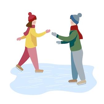 Patim de gelo da menina e do menino junto. aprende a patinar no gelo. atividades de inverno para crianças. ilustração em vetor plana moderna