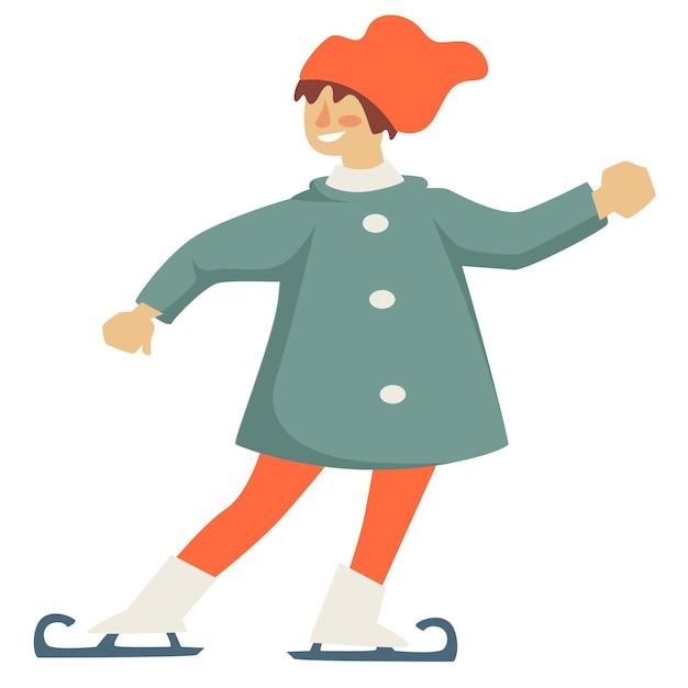 Patinação artística infantil na pista de gelo, esportes de inverno e recreação no inverno. criança isolada praticando, personagem esportivo com sorriso no rosto. fins de semana ou férias no inverno. vetor em estilo simples