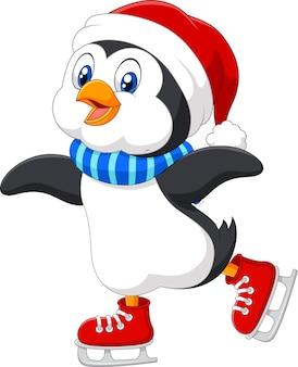 Patinação no gelo de pinguim bonitinho