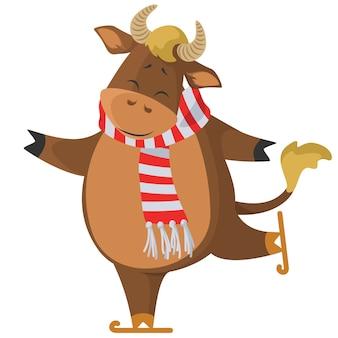Patinação no gelo de vaca bonita. desenho animado . personagem de touro engraçado e feliz isolado no fundo branco.