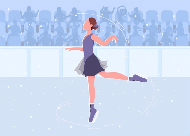 Patinação no gelo plana. mulher bonita mostrando suas habilidades na grande pista de gelo. personagens de desenhos animados 2d de grande performer com um estádio cheio de gente gritando