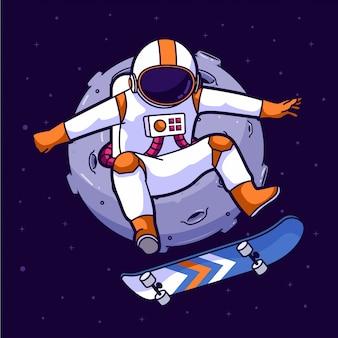 Patinador de astronauta no espaço