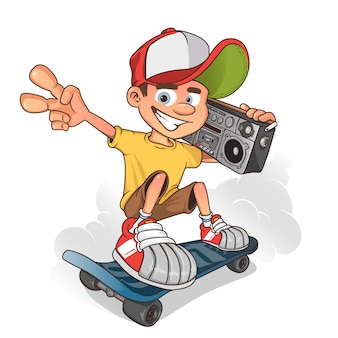 Patinador de garoto legal com aparelho de som portátil, personagem de desenho animado.