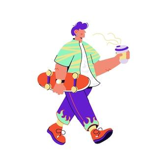 Patinadora com café carregando o skate no fundo branco