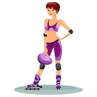 Patinadora jovem linda com roupas da moda e equipamento de segurança completo nas patins