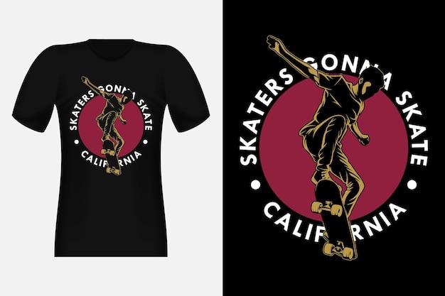 Patinadores da califórnia que vão patinar com a silhueta do vintage design de t-shirt