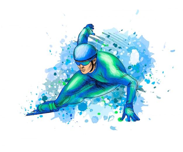 Patinadores de velocidade abstrata de respingo de aquarelas. esporte de inverno pista curta