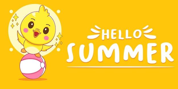 Patinho fofo com banner de saudação de verão