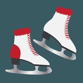 Patins de gelo com pele. calçado para desportos de inverno.