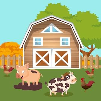 Pátio com cena de celeiro e animais