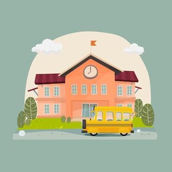 Pátio da frente do ônibus escolar e prédio da escola
