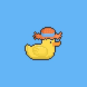 Pato amarelo de desenho de pixel com chapéu de palha