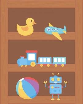 Pato avião trem bola robô brinquedos objeto para crianças pequenas para jogar desenhos animados na prateleira de madeira