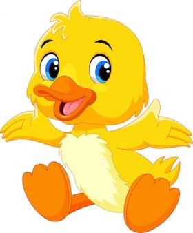 Pato bebê fofo levantou suas asas