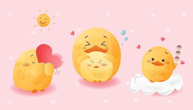 Pato bonito conjunto cair no estilo aquarela de amor.
